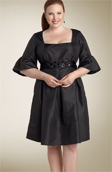 Bell Sleeved Taffeta Dress by Donna Morgan