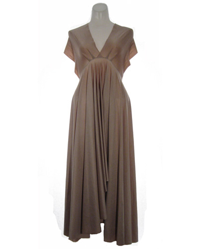 Butter Satin Convertible Dress in Brown