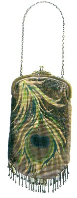 Peacock Feather Mesh Bag