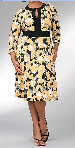 Lane Bryant Patterned Keyhole Dress