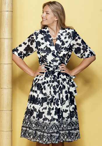 Navy Print Silk Dress