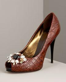 Giuseppe Zanotti croc-embossed peep toes