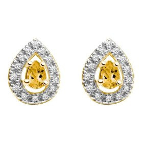 Citrine and diamond pear-cut earrings