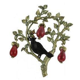 Silver and glass partridge in a pear tree brooch