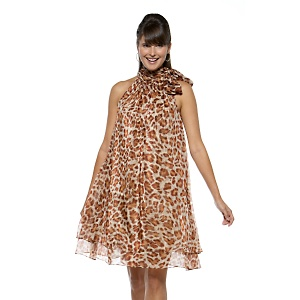 Diane Goes Hollywood Leopard Print Chiffon Dress