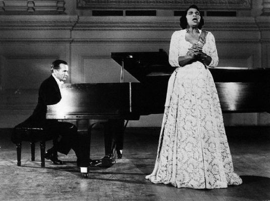 in 1955 Anderson was the first black American to sing at the Met