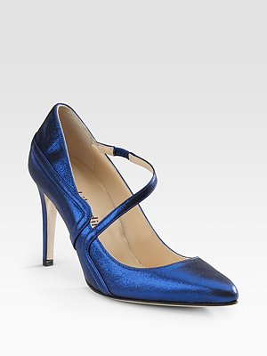 Max Kibardin Point Toe pumps in electric blue
