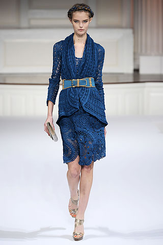 Blue crochet suiting