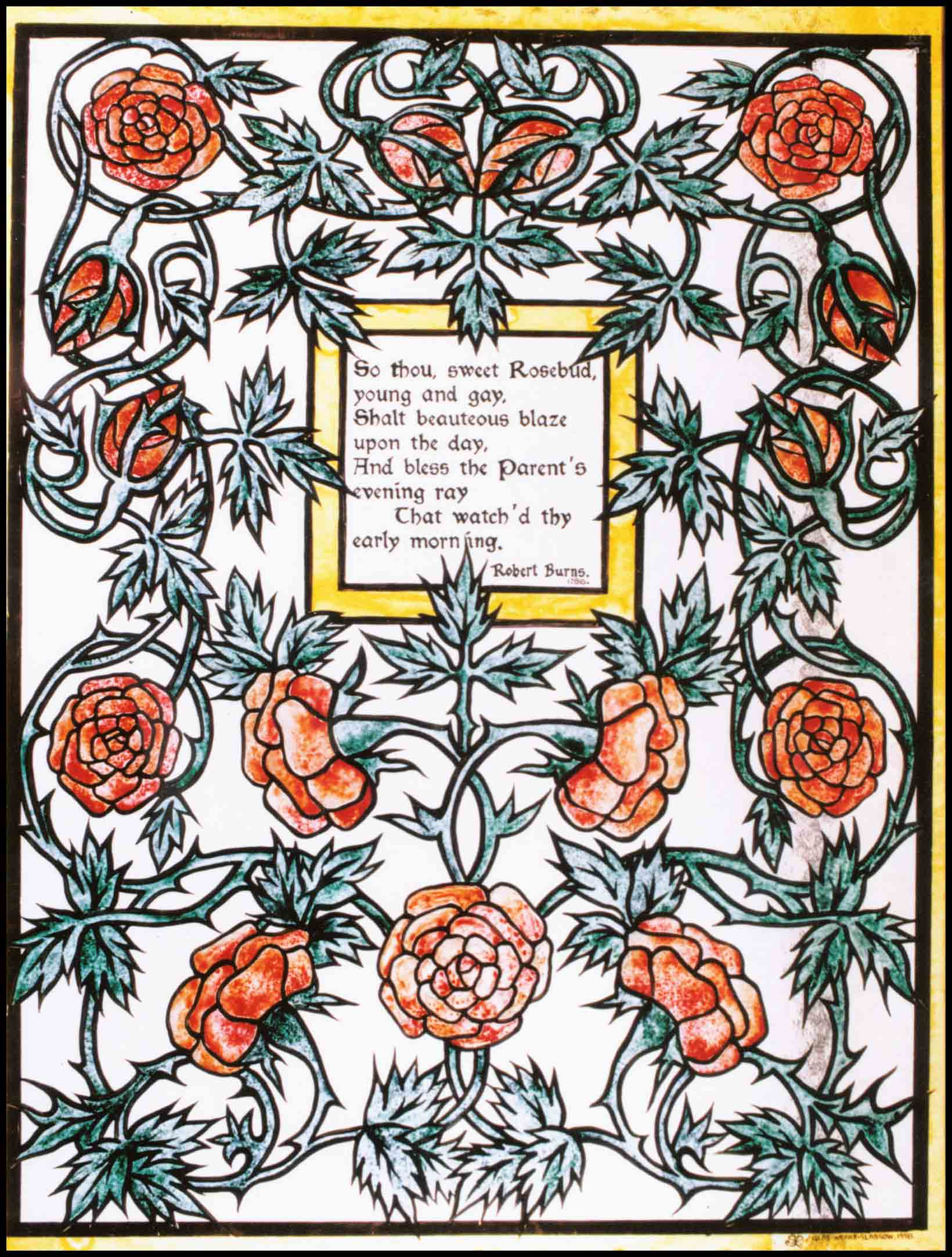 Glasgow style stained glass poem of Robert Burns