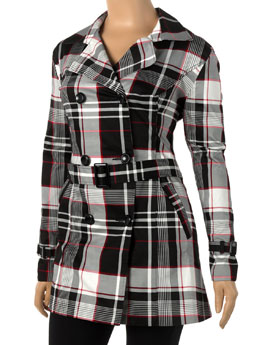 Short plaid trench