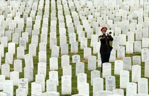 bugler among the graves