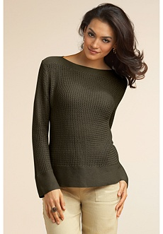 silk linen sweater olive