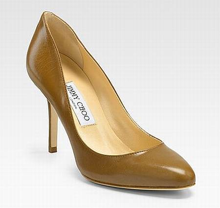 Jimmy Choo luggage leather brown court shoes
