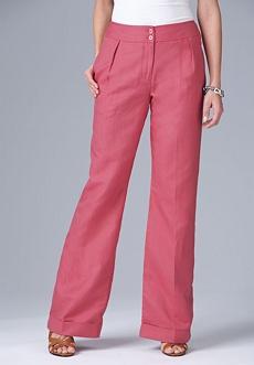 rose linen blend pants